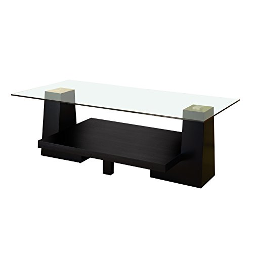 ioHOMES Gage Coffee Table with Glass Top, Black