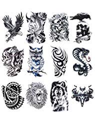 12 Sheets Temporary Tattoos Stickers, Fake Body Arm Chest Shoulder Tattoos for Men (The Best Shoulder Tattoos)