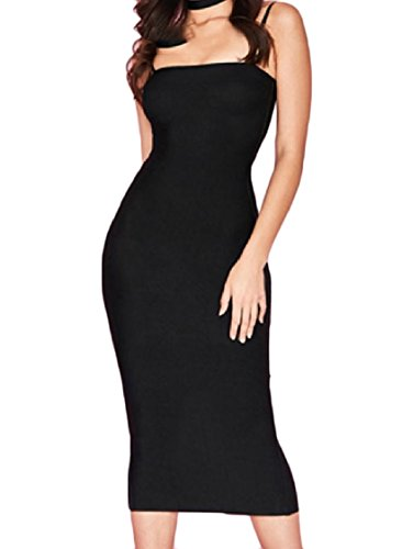 Long Dress Sleeveless with Backless Pure Sexy Colour Coolred Women Black Maxi Strap qRUv8wv7g
