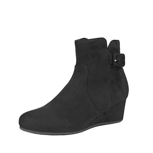 DREAM PAIRS Women's Lang Black Low Wedge Heel Ankle Booties Size 9 M US ()