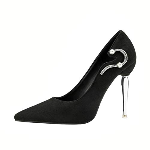 (GanQuan2018 Women Pumps Summer Pointed Toe Slip-on Thin High Heels Crystal Bridal Wedding Shoes)