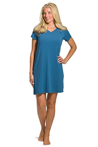 Fishers Finery Women's Tranquil Dreams V Neck Nightshirt  Comfort Fit, Moonlight Blue, Medium
