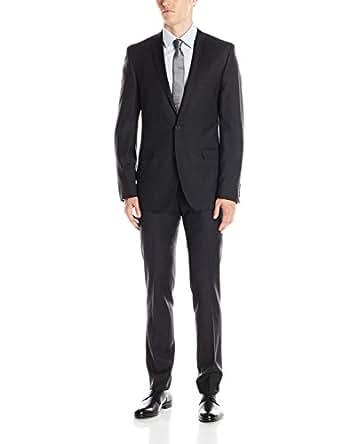 Ben Sherman Men's Camden Solid 2 Button Side Vent Suit, Charcoal, 44 Regular