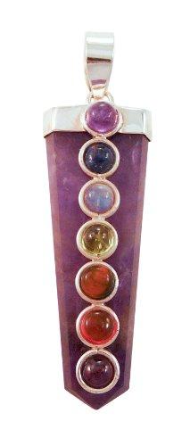 Braja 7 Chakra Flat Healing Stone Sterling Silver Pendant