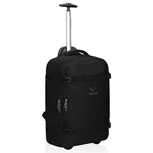 Hynes Eagle 42L Rolling Backpack Wheeled Backpack Flight Approved Carry on Luggage Travel Backpack Black (Travel Wheels Backpack With)