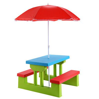 4 Seat Kids Picnic Table w/Umbrella Garden Yard Folding Children (Oval Set Folding Chair)