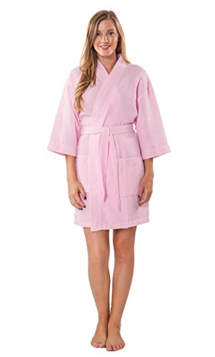 (Turquaz Linen Lightweight Knee Length Waffle Kimono Bridesmaids Spa Robe (Pink,)