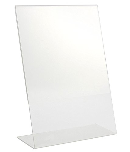 Clear Label Holder Plastic Cover (Sign Holder - Acrylic Sign Holder, Slant Back Title Holder, Clear Ad Frame, Letter Size, 8.2 x 11.2 x 3.2 Inches.)