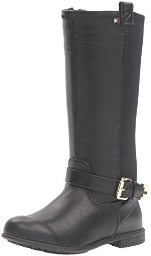 Tommy Hilfiger Kids Andrea Stretch Neoprene Back Boot (Toddler/Little Kid/Big Kid), Black, 1 M US Little Kid