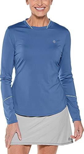 Coolibar UPF 50+ Women's Long Sleeve Match Point Tee - Sun Protective (Medium- Dusk -