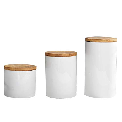 - Jars Boxes - Food Storage Jar Ceramic With Airtight Seal Bamboo Lid Modern White Canister 13.5 10cm - Jars Boxes Bottles Jars Boxes Caddy Ceramic Storage Food Storag Bamboo Coffee Outboard M