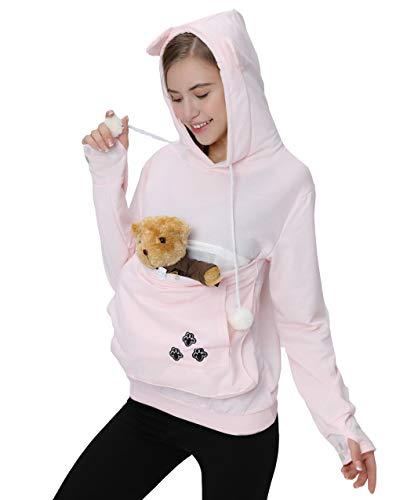Womens Pet Carrier Shirts Kitten Puppy Holder Sweatshirt Animal Pouch Hood Tops Pink 2XL from Jomago