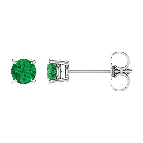 14k White Gold 4mm Round Chatham Created Emerald (Chatham Created Emerald Earrings)