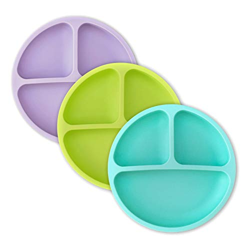 hippypotamus Toddler Plates - Silicone Divided Plates for Toddlers, Kids & Babies - Microwave & Dishwasher Safe - Teal, Lime, Lavender - 3 Pack