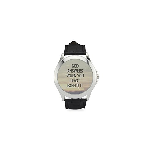 (Festival Gift God answers when you least expect it - Bible Verse Women's Classic Leather Strap)