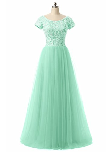 Jazylynbride Ball Gown Scoop Neckline Cap Sleeve Tulle Lace Prom Dress Evening Gown (Gown Tulle Prom)