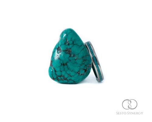 Titanium Ring with Central Turquoise Mineral Stone Inlay. 3 mm.