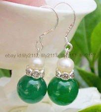 12mm Green Jade Earring - Pretty 12mm Green Jade + 7-8MM White Pearl Silver Hook Drop Dangle Earrings