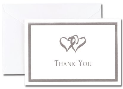 (Price/Pack)Masterpiece Studios 145000 Silver Double Hearts Thank You Note Cards