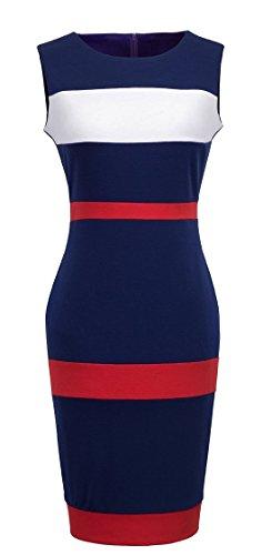 HOMEYEE Womens Voguish Colorblock Stripe