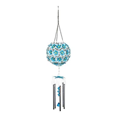 Exhart Solar Hanging Hydrangea Flower Ball Wind Chime with Thirty Two LED Lights, 6 by 27 Inches