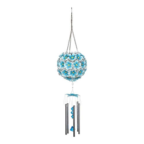 Exhart Solar Turquoise Hydrangea Metal Flower Ball Wind Chimes w/ 32 LED Lights - Hanging Hydrangea Garden Chimes, Metal Hydrangea Wind Chimes Set, Hydrangea Outdoor Lights, 6.3