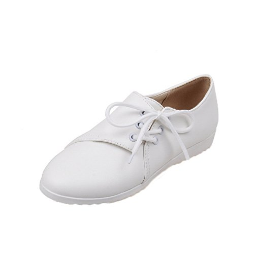 AllhqFashion Womens Lace-Up PU Round-Toe Low-Heels Solid Pumps-Shoes White 9MrfY0