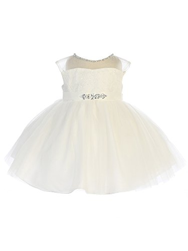 Tip Top Kids Baby Girls Ivory Illusion Neck Beaded Lace Belted Flower Girl Dress 12M Beaded Belted Skirt