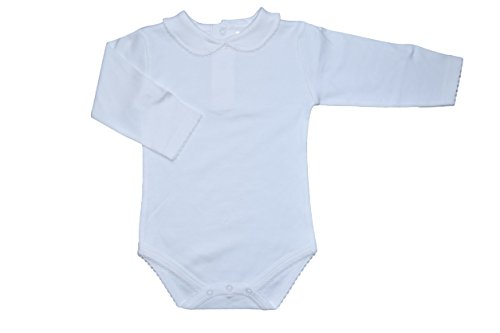 Carlino Peter Pan Collared Onesie - Long Sleeve, Extra Soft, 3 Colors Available (6-12 Months, Ivory) (Baby Peter Pan compare prices)