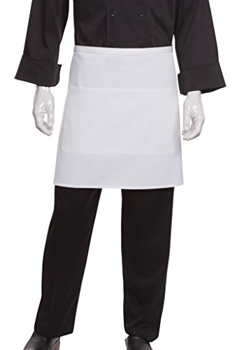 (Chef Works Half Bistro Apron, White, 19-Inch Length by 30-Inch)