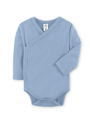 Colored Organics Baby Organic Cotton Kimono Bodysuit - Long Sleeve Infant Side Snap Onesie - Newborn 0-3 Months - Denim Blue