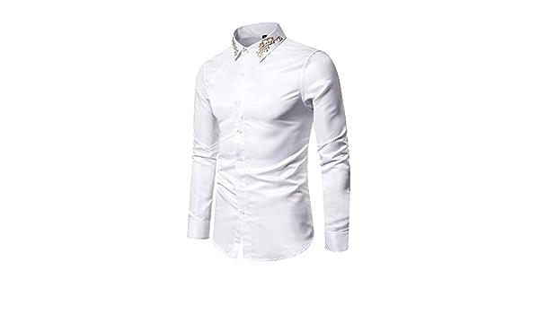 Chickwin Hombre Casual Manga Larga Camisa Patrón Collar, Moda ...