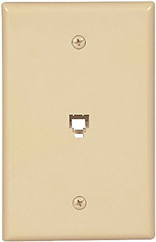 EATON Wiring 3533-4V-L Flush Mount Mid Size Wall Plate with Telephone Jack 4-Conductor, Ivory