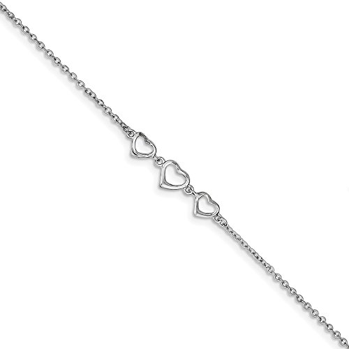 Black Bow Jewelry Rhodium-Plated Sterling Silver Triple Heart Anklet, 10-11 - Anklet Triple Heart