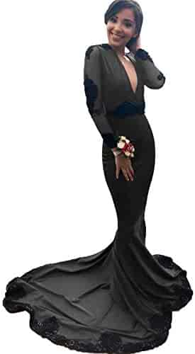1ae13afedd67 SDRESS Women's Sexy Deep V Neck Black Applique Mermaid Prom Dress Open Back  Long Sleeve Evening