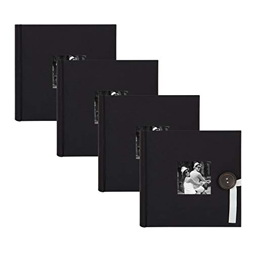 DesignOvation Kim Fabric Photo Albums with Ribbon and Button Closures, Holds 200 4x6 Photos, Set of 4, Black