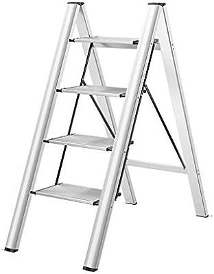 MJY Escaleras de Aleación de Aluminio Tricromático Multipropósito, Escalera Interior Taburetes Escaleras de Cocina/Baño Marco Floristería Soporte de Flores,Plata,45.5 * 84 * 101 cm: Amazon.es: Bricolaje y herramientas