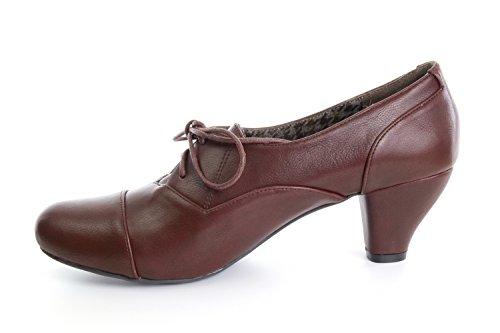Andres Machado.AM4034.Zapatos estilo Oxford para Mujeres. Tallas Grandes y Pequeñas.32/35.42/45 Vino