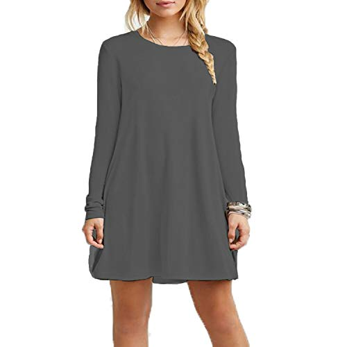 Kids Children Long Sleeve Swing Skater Dress Plain