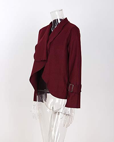 Inverno Breve Outwear Cardigan Donna Giacca Moda Risvolto Cappotto Unita Blazer Tinta Vino Rosso Lunghe Autunno Maniche zw87Cqwn5x