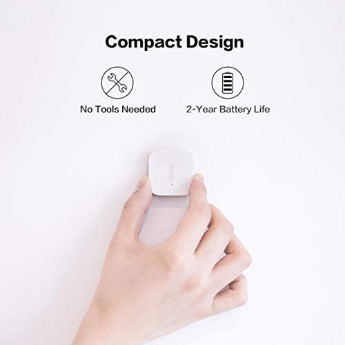 Aqara Temperature and Humidity Sensor, REQUIRES AQARA HUB, Zigbee Connection, for Remote Monitoring and Smart Home Automation, Wireless Thermometer Hygrometer, Compatible with Apple HomeKit, Alexa 31HJ9ruw4pL