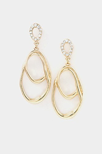 Karmas Canvas Double Oval Casting with Crystal Accent Dangle Earring (Gold) by Karmas Canvas