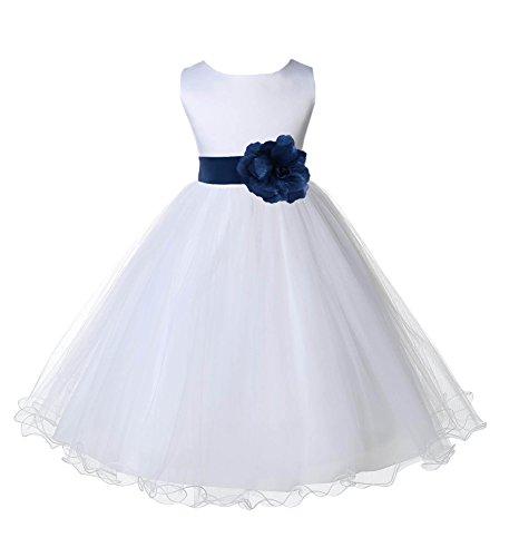 Wedding Pageant White Flower Girl Rattail Edge Tulle Dress 829s 4