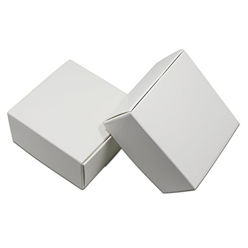 Kraft Paper Party Jewelry Packaging Boxes Small Gift Present Invitation Holiday Storage Boxes White Cardboard Earrings Cosmetic Makeup Decorative Box (3.0x3.0x1.2 inch(7.5x7.5x3 cn), 200 pieces) by PABCK