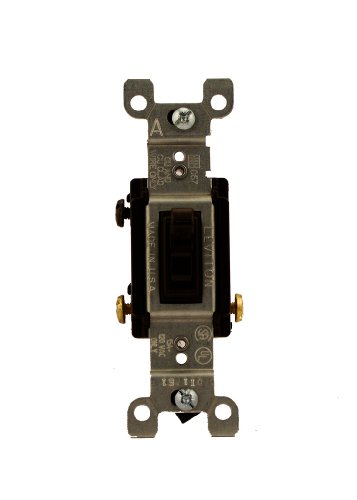 mp, 120 Volt, Toggle Framed 3-Way AC Quiet Switch, Residential Grade, Non-Grounding, Quickwire Push-In & Side Wired, Brown ()