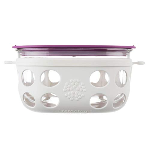 Lifefactory LF440004C4 BPA-Free Glass Protective Silicone Sleeve and Lid Food Storage and Bakeware 4 Cup Optic White and Huckleberry