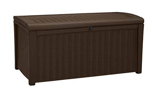 Keter 211359 Borneo 110 Gal. Plastic Outdoor Patio Storage Container Deck Box & Gar, Brown (Renewed)