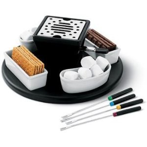 Smores Maker: Casa Moda S'mores Maker Set ~ Dessert Fondue Lazy Susan ~ Indoor / Outdoor Use