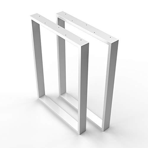 Sossai Mesa Estructura Acero | 2 Piezas | pie de Mesa | Ancho 70 cm x Altura 72 cm TKK1 | Color: Blanco (con Recubrimiento de Polvo)