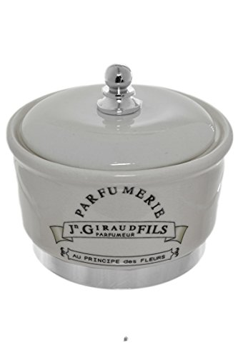French Salt Glaze - Antique Black & Cream French Paris Parfumerie Bathroom Apothecary Cotton Jar Urn